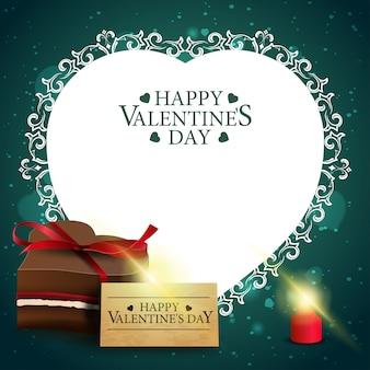 Zielony walentynki kartkę z życzeniami z cukierków czekoladowych