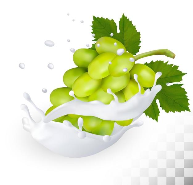 Zielony winogron w plusk mleka na przezroczystym tle