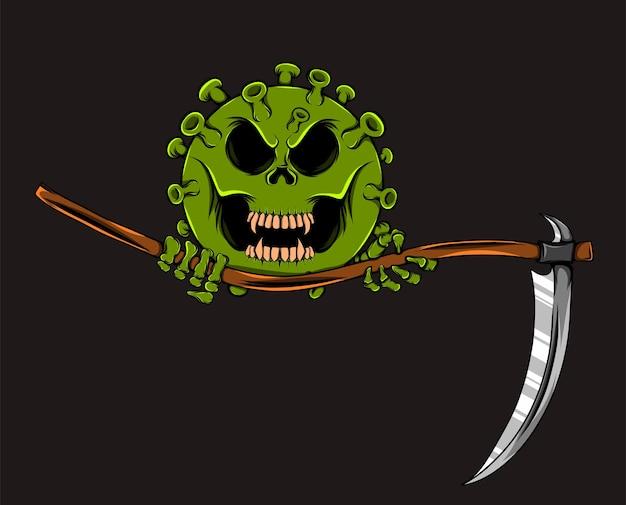 Zielony wirus trzyma kosę z przerażającą twarzą