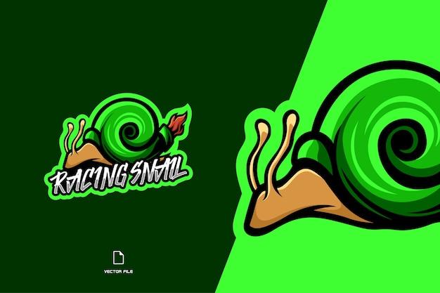 Zielony wyścigowy ślimak maskotka esport logo szablon gry postaci
