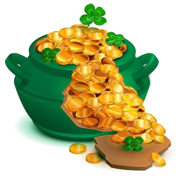 Zielony, złamany kociołek pełen złotych monet. lucky clover quatrefoil dzień świętego patryka.