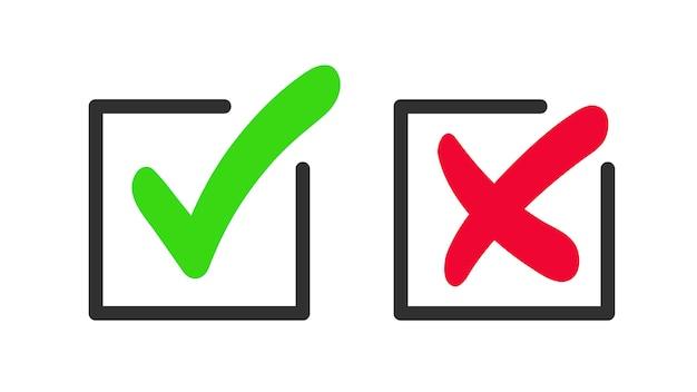 Zielony znacznik wyboru i ikona czerwonego krzyża. symbol zatwierdzonych i odrzuconych.