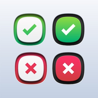 Zielony znacznik wyboru i ikona czerwonego krzyża