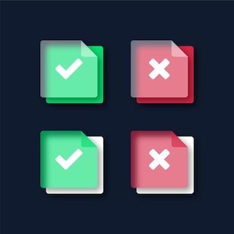 Zielony znacznik wyboru i ikony czerwonego krzyża