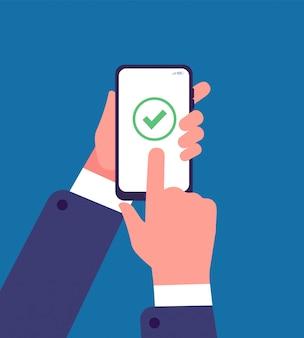 Zielony znacznik wyboru na ekranie smartfona