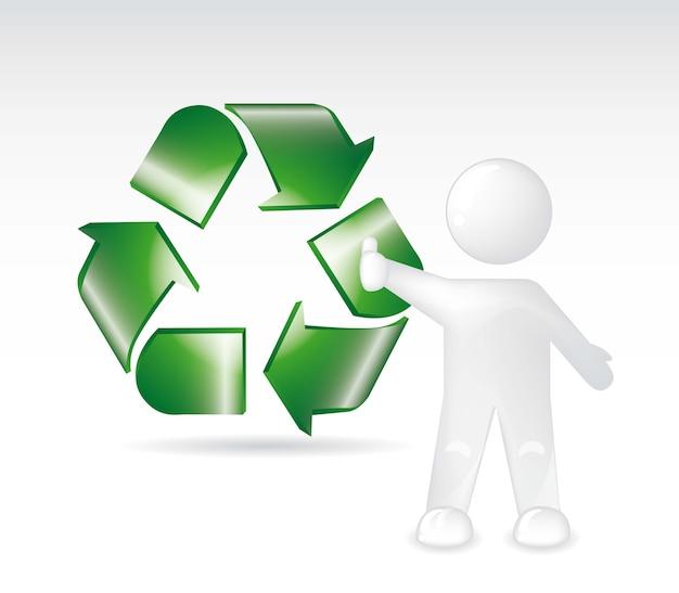 Zielony znak recyklingu z białym tle ove szarym tle. wektor