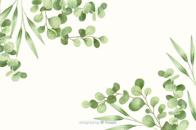 Zielonych liści ramowy abstrakcjonistyczny tło