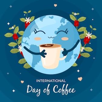 Ziemia ciesząc się koncepcją filiżanki kawy