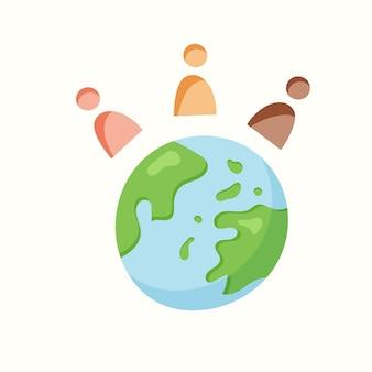 Ziemia i mali ludzie. ilustracja wektorowa w stylu płaski