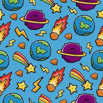 Ziemia i saturn kreskówka doodle wzór bez szwu