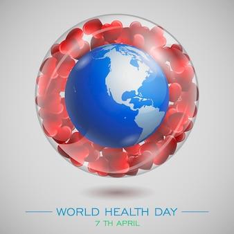 Ziemia i serca w szklanej misce. skład wektora. światowy dzień zdrowia