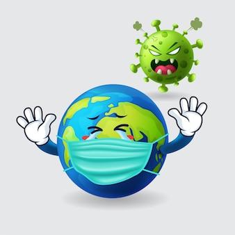 Ziemia nosi maskę i boi się covid-19 w odosobnionym tle