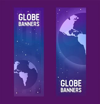 Ziemia planeta wektor globalny świat wszechświat dzień ziemi i światowa uniwersalna globusowa ilustracja światowa