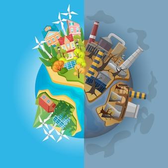 Ziemia podzielona na dwie połówki czystej ekologii i brudna wyrwana
