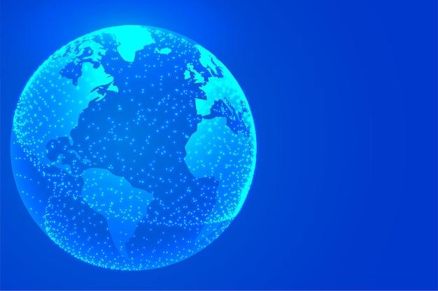 Ziemia w technologii cyfrowej wykonana z połączeniem cząstek