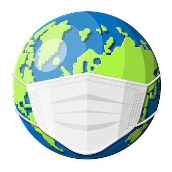 Ziemia z maską medyczną. ratuj świat, zapobiegaj chorobom koronawirusowym. covid-19, koronawirus, panika ncov. ochrona przed wirusem koronowym. planet nosi maseczkę zdrowotną. płaska ilustracja wektorowa