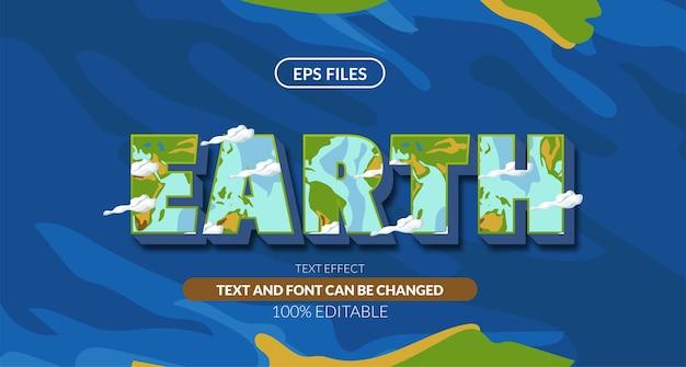 Ziemia zielona niebieska planeta 3d edytowalny efekt tekstowy. plik wektorowy eps
