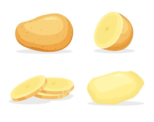 Ziemniaki obrane w całości i kawałek na białym tle.