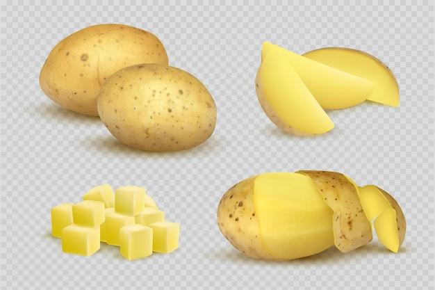 Ziemniaki realistyczne. świeży naturalny eko wegetariańska żywność plastry ziemniaków szablon.