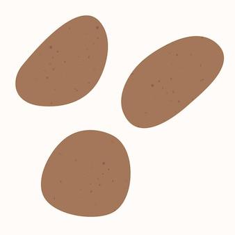 Ziemniaki są naturalnym warzywem, ręcznie rysowana ilustracja wektorowa jest izolowana na białym tle.