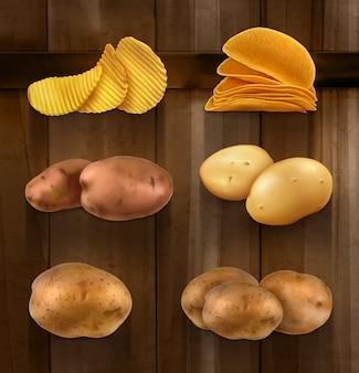 Ziemniaki, wektor zestaw na drewnianej ścianie