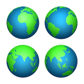 Ziemska 3d kula ziemska. mapa świata z zielonymi kontynentami i błękitnymi oceanami. na białym tle zestaw