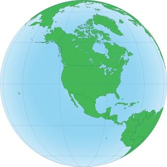 Ziemska kula ziemska z koncentracją na ameryce północnej