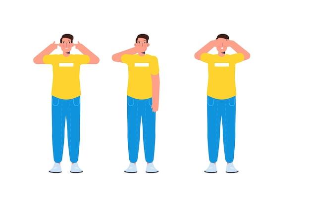 Zignoruj lub unikaj koncepcji ze znakami. nie słyszeć zła, nie widzieć zła i nie mówić nic złego. ilustracja wektorowa.