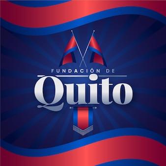 Zilustrowana fundacja de quito z czerwoną i niebieską flagą