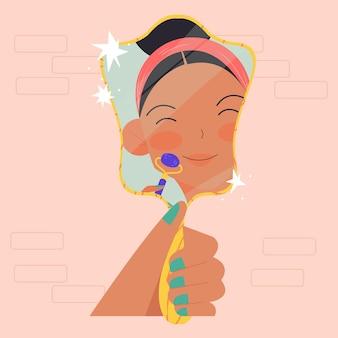 Zilustrowana kobieta używająca jadeitowego wałka