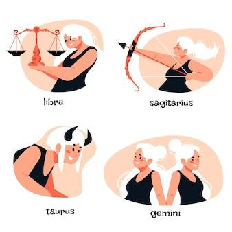 Zilustrowana kolekcja znaków zodiaku