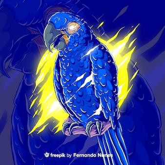 Zilustrowana kolorowa abstrakcyjna papuga