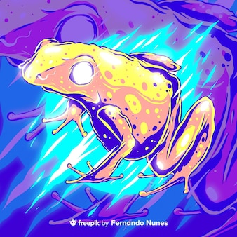 Zilustrowana kolorowa żaba abstrakcyjna