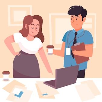 Zilustrowana koncepcja pracy na stażu