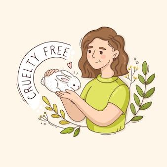 Zilustrowana okrutna wiadomość z kobietą trzymającą królika