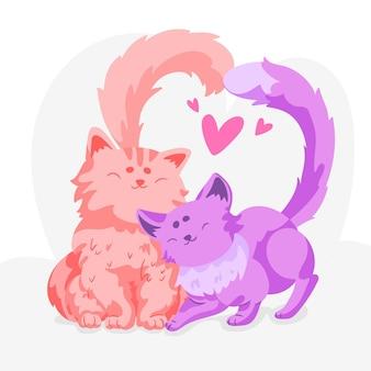 Zilustrowana para ładny kotek