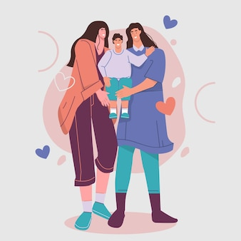 Zilustrowana para lesbijek z dzieckiem