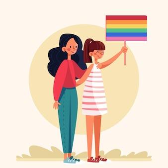 Zilustrowana para lesbijek z flagą lgbt