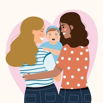 Zilustrowana piękna para lesbijek z dzieckiem