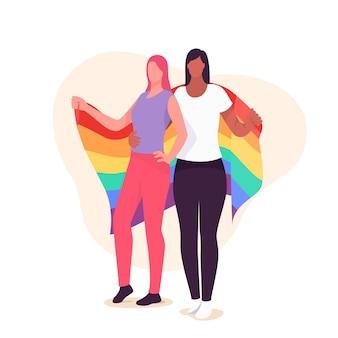 Zilustrowana piękna para lesbijek z flagą lgbt
