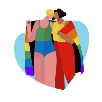 Zilustrowana śliczna para lesbijek z flagą lgbt