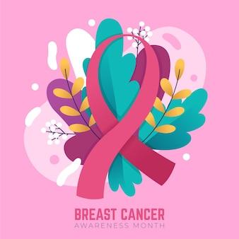 Zilustrowana wstążka miesiąca świadomości raka piersi