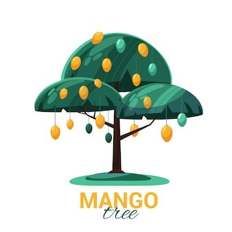 Zilustrowane drzewo mango z owocami i liśćmi