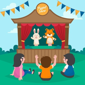 Zilustrowane dzieci oglądające przedstawienie kukiełkowe