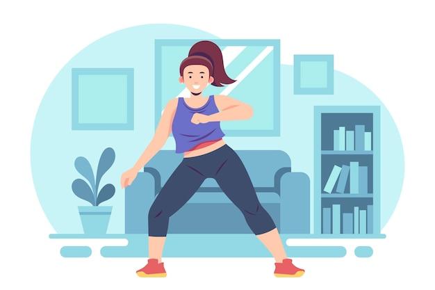 Zilustrowane fitness taneczne w domu