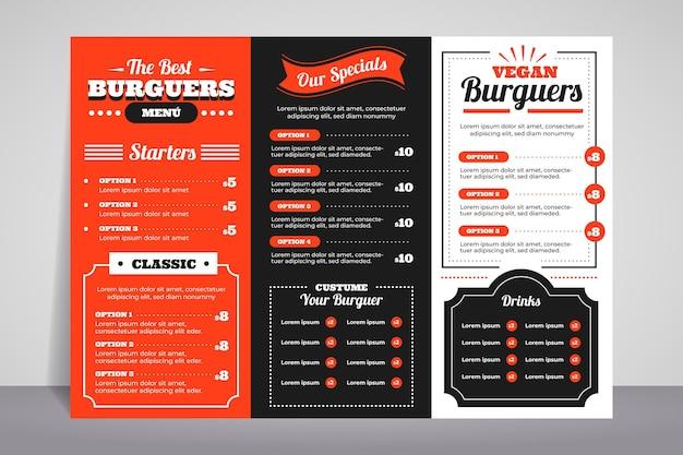 Zilustrowane menu żywności do użytku cyfrowego