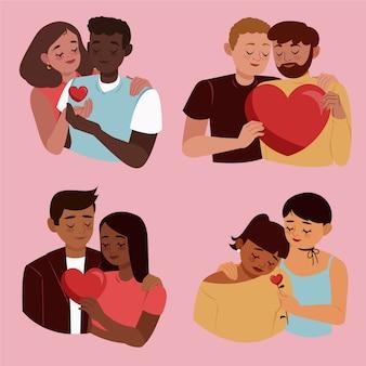 Zilustrowane pary heteroseksualne i homoseksualne