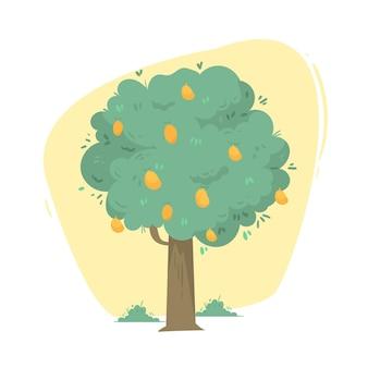Zilustrowane płaskie drzewo mango z owocami i liśćmi