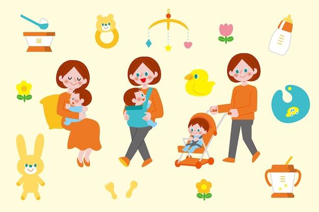 Zilustrowane sceny ciąży i macierzyństwa