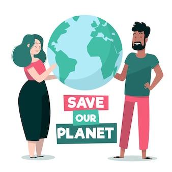 Zilustrowane stylem save the planet